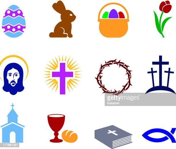 ilustraciones, imágenes clip art, dibujos animados e iconos de stock de conjunto de vacaciones de pascua - corona de espinas