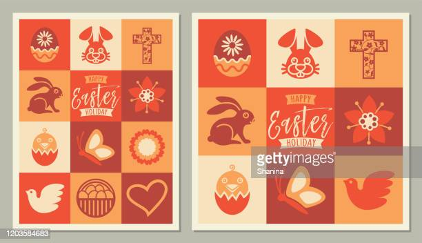 easter holidays square icons greeting card - easter religious stock illustrations