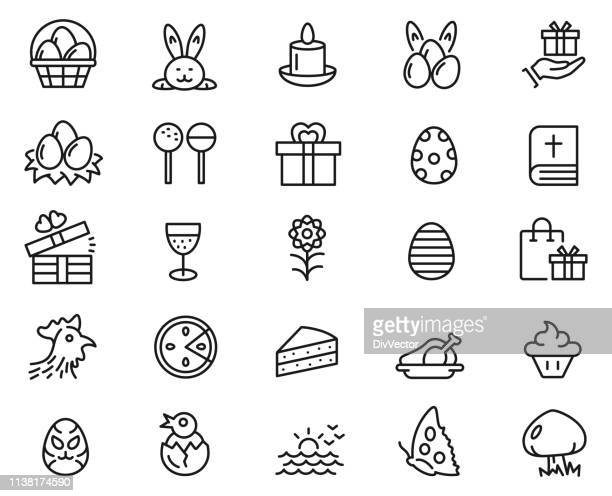 easter icon set - easter stock illustrations