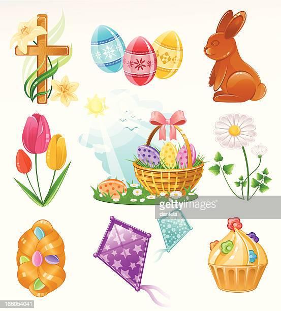 ilustraciones, imágenes clip art, dibujos animados e iconos de stock de conjunto de iconos de pascua - roscadepascua