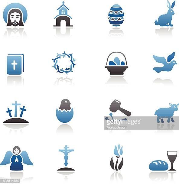 ilustraciones, imágenes clip art, dibujos animados e iconos de stock de conjunto de iconos de pascua - corona de espinas