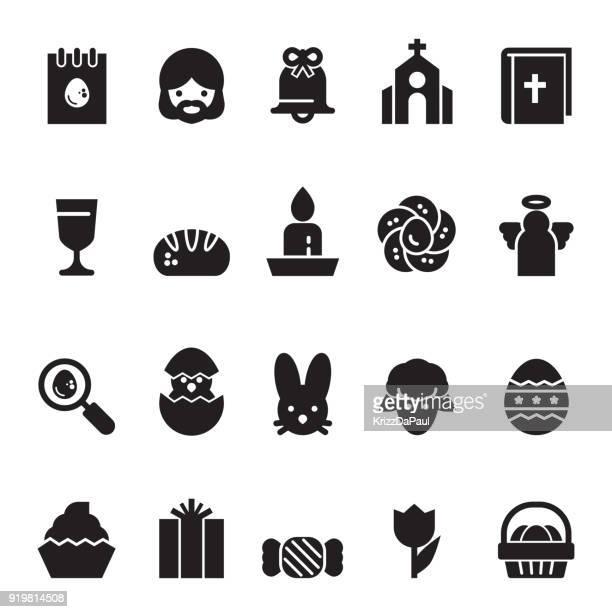 ilustraciones, imágenes clip art, dibujos animados e iconos de stock de iconos de la pascua [black edition] - roscadepascua
