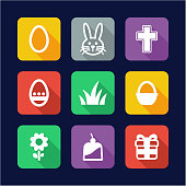 Easter Icons Flat Design