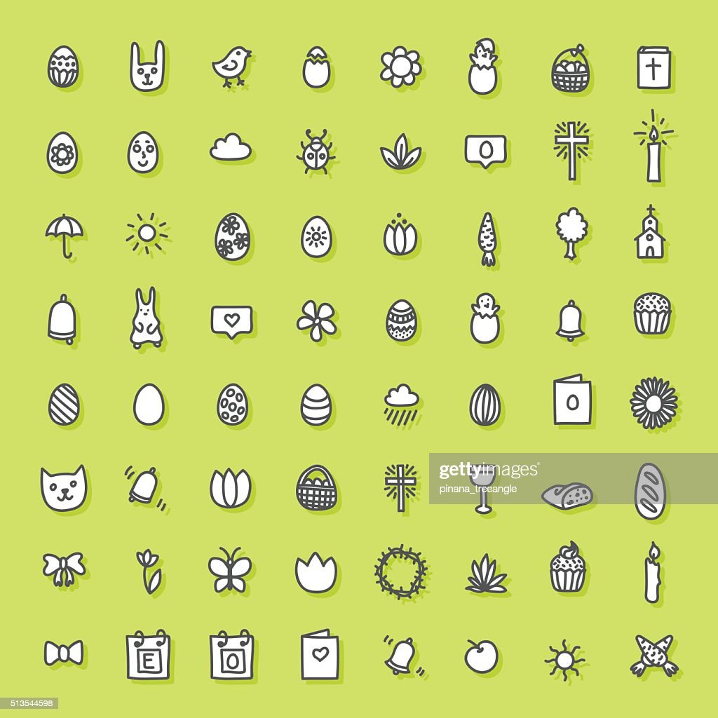 Easter icons hand drawn collection