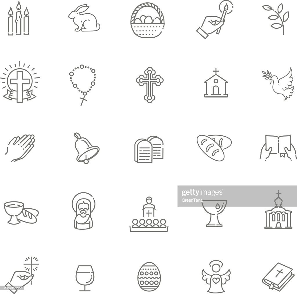 Easter icons set. Christianity icon set