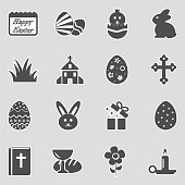 Easter Icons. Sticker Design. Vector Illustration.