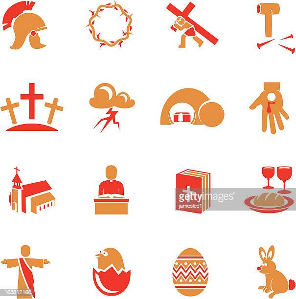 easter icons - christianity stock illustrations