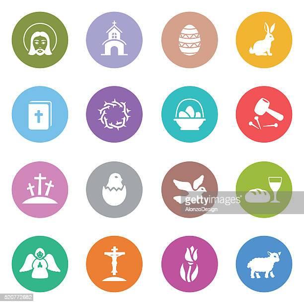 ilustraciones, imágenes clip art, dibujos animados e iconos de stock de iconos de pascua - corona de espinas