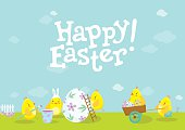 Easter illustration with cute chicken cartoons.