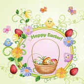 Easter illustration with eggs and beautifull flowers.