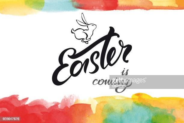 easter is coming greeting card - easter stock illustrations