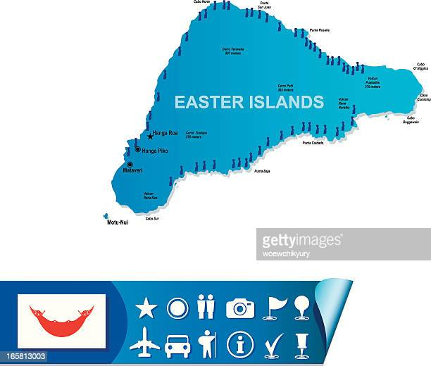 easter island map - easter island stock illustrations, clip art, cartoons, & icons