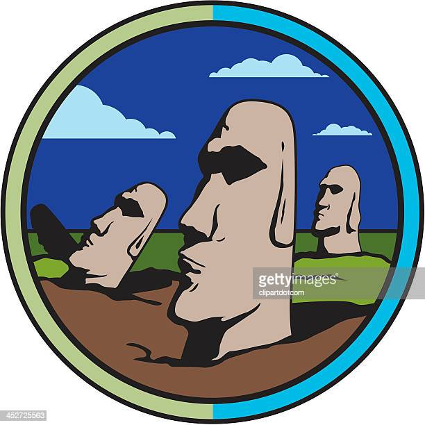 easter island moai - easter island stock illustrations, clip art, cartoons, & icons