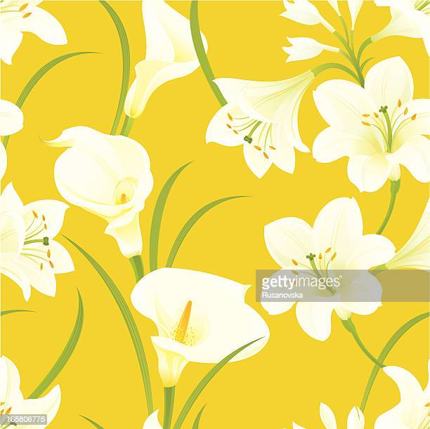 easter lilies pattern - calla lily stock illustrations, clip art, cartoons, & icons