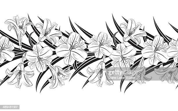 easter lilly border - easter lily stock illustrations