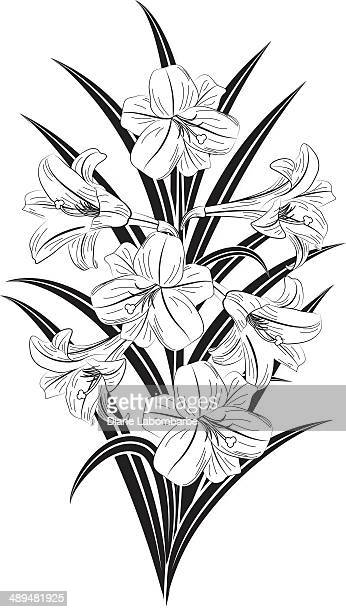 easter lilly bouquet - lily stock illustrations, clip art, cartoons, & icons