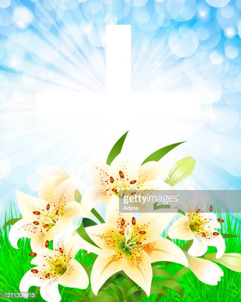 easter lily and cross - easter lily stock illustrations