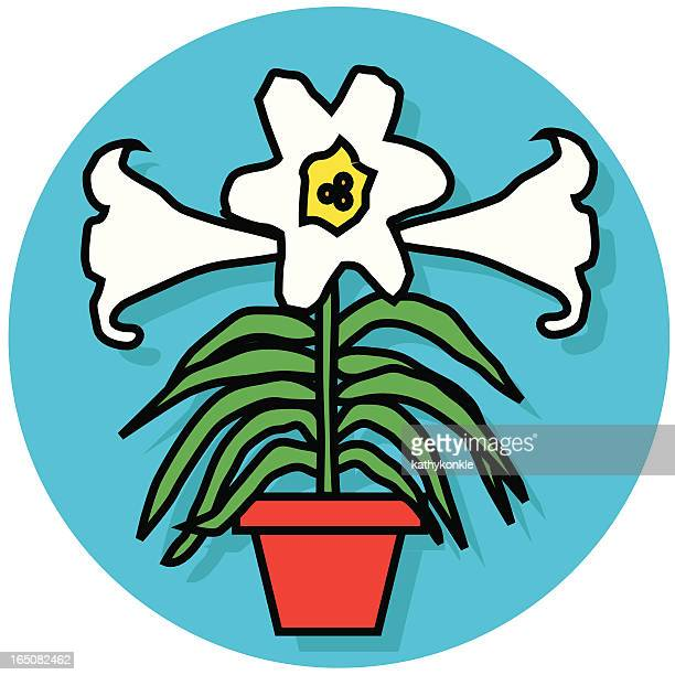 easter lily icon - easter lily stock illustrations
