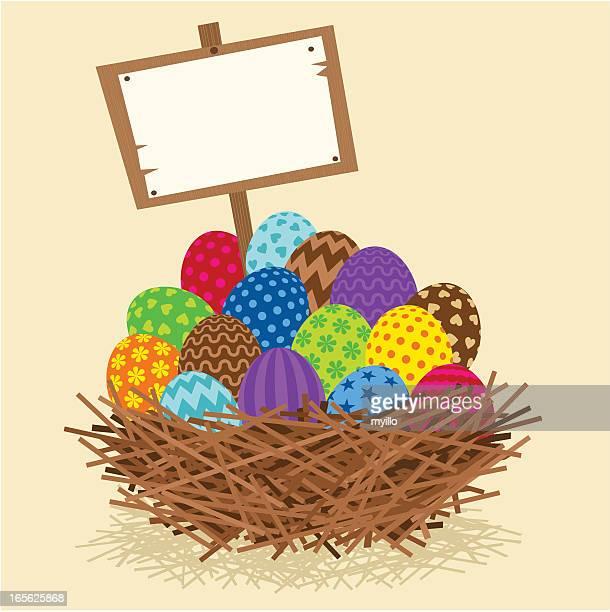 ilustrações, clipart, desenhos animados e ícones de ninho de páscoa - cesta de páscoa