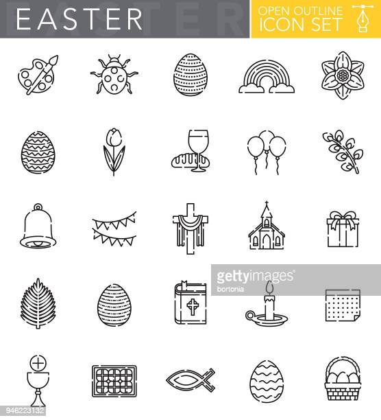 easter open outline icon set - palm sunday stock illustrations