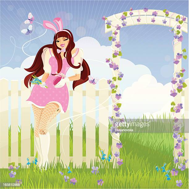 easter pin-up girl - easter bunny costume stock illustrations, clip art, cartoons, & icons