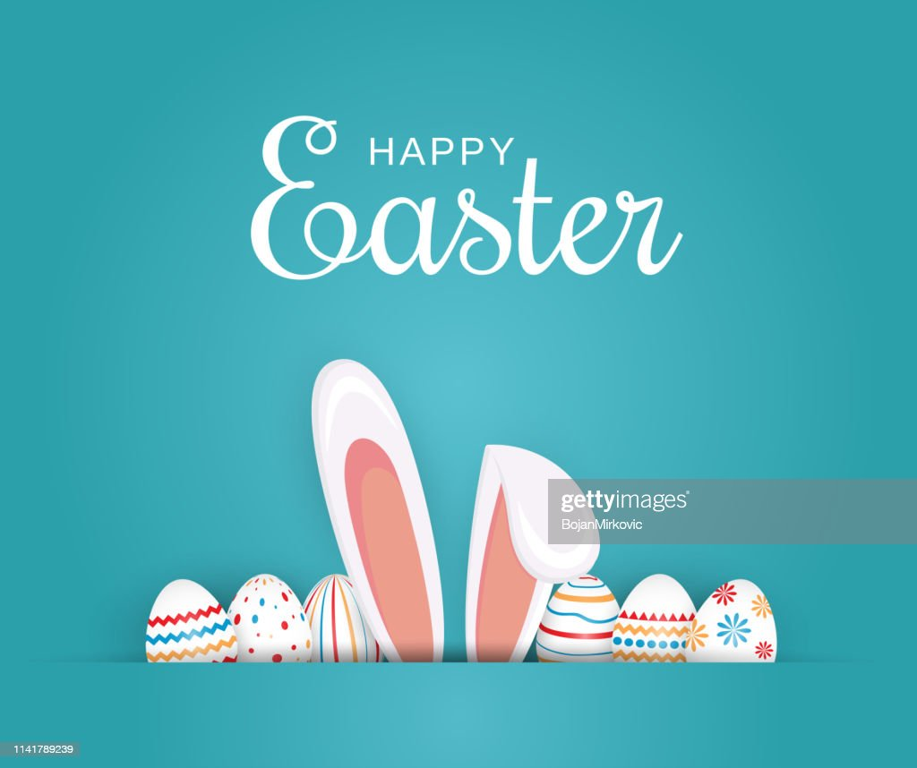 Pasen poster, achtergrond of kaart met eieren en bunny oren. Vector illustratie. : Stockillustraties