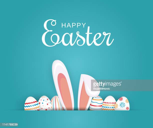 easter poster, background or card with eggs and bunny ears. vector illustration. - easter stock illustrations