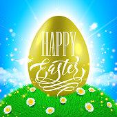 Easter poster. Spring vector illustration of gold shining egg