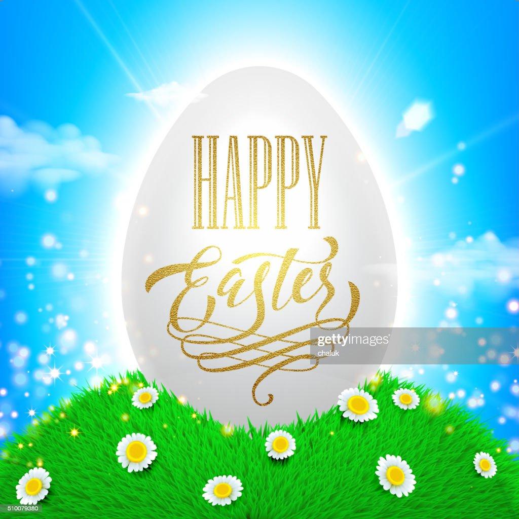 Easter poster. Spring vector illustration of white shining egg