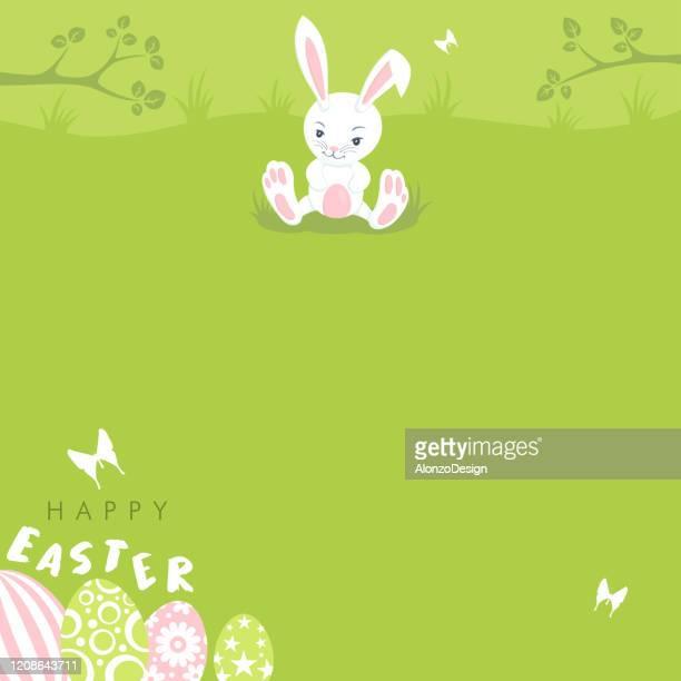 ilustraciones, imágenes clip art, dibujos animados e iconos de stock de cartel de pascua con un conejito lindo - linda rama