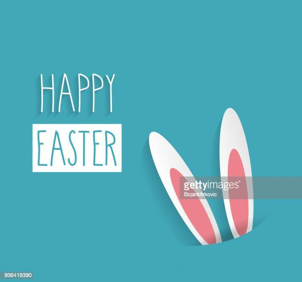 easter poster with rabbit ears and handwritten text. vector illustration. - easter bunny stock illustrations
