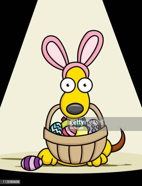 easter puppy - easter bunny costume stock illustrations, clip art, cartoons, & icons