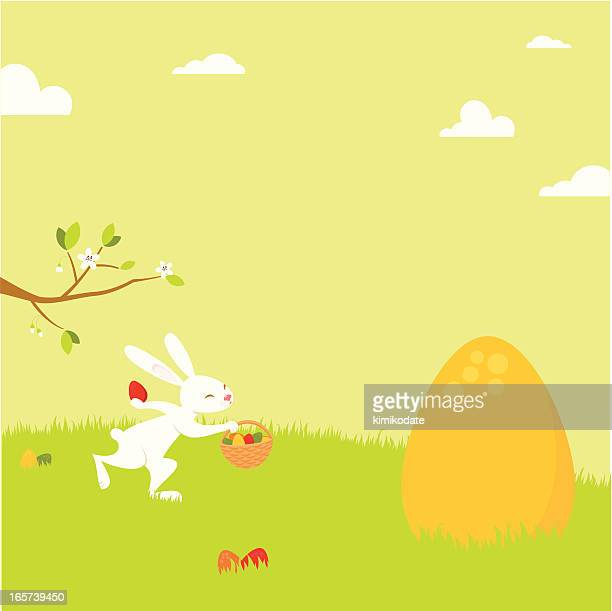 easter rabbit gathering eggs - easter bunny stock illustrations