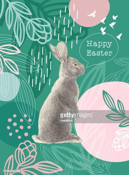 illustrazioni stock, clip art, cartoni animati e icone di tendenza di easter rabbit on green floral pattern - colomba pasqua