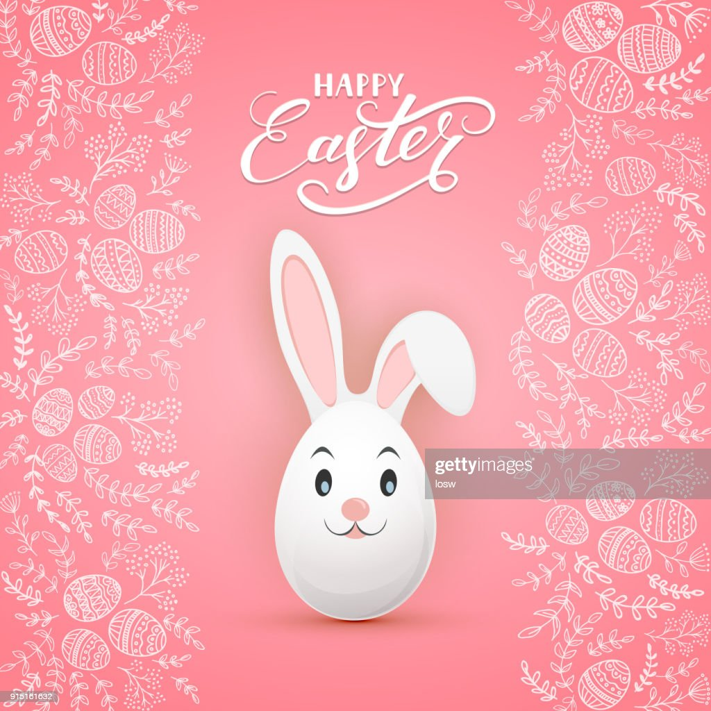 Easter rabbit on pink background with floral elements and eggs