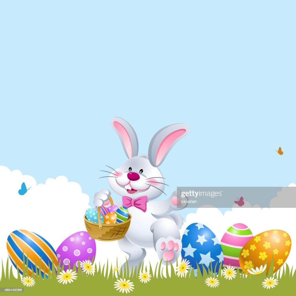 Easter Rabbit Palying Easter Egg Hunt : stock illustration