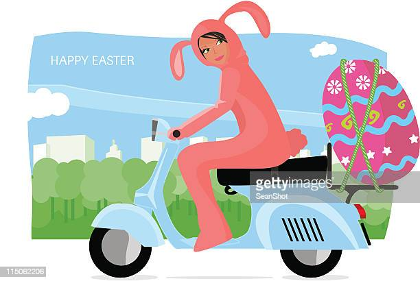 easter rabbit vespa - vespa stock illustrations, clip art, cartoons, & icons