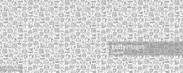 easter related seamless pattern and background with line icons - christianity stock illustrations