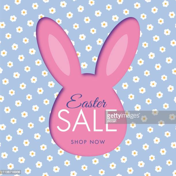 easter sale background with bunny rabbit frame. daisy pattern. - easter stock illustrations
