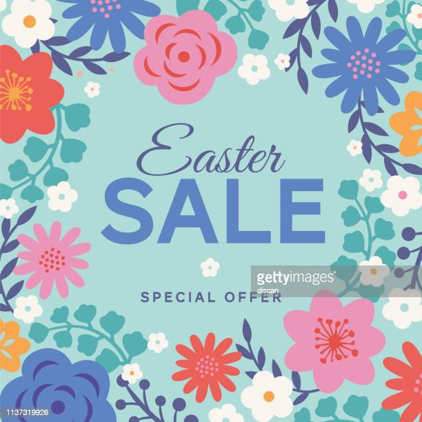 easter sale background with flowers frame. - easter sunday stock illustrations