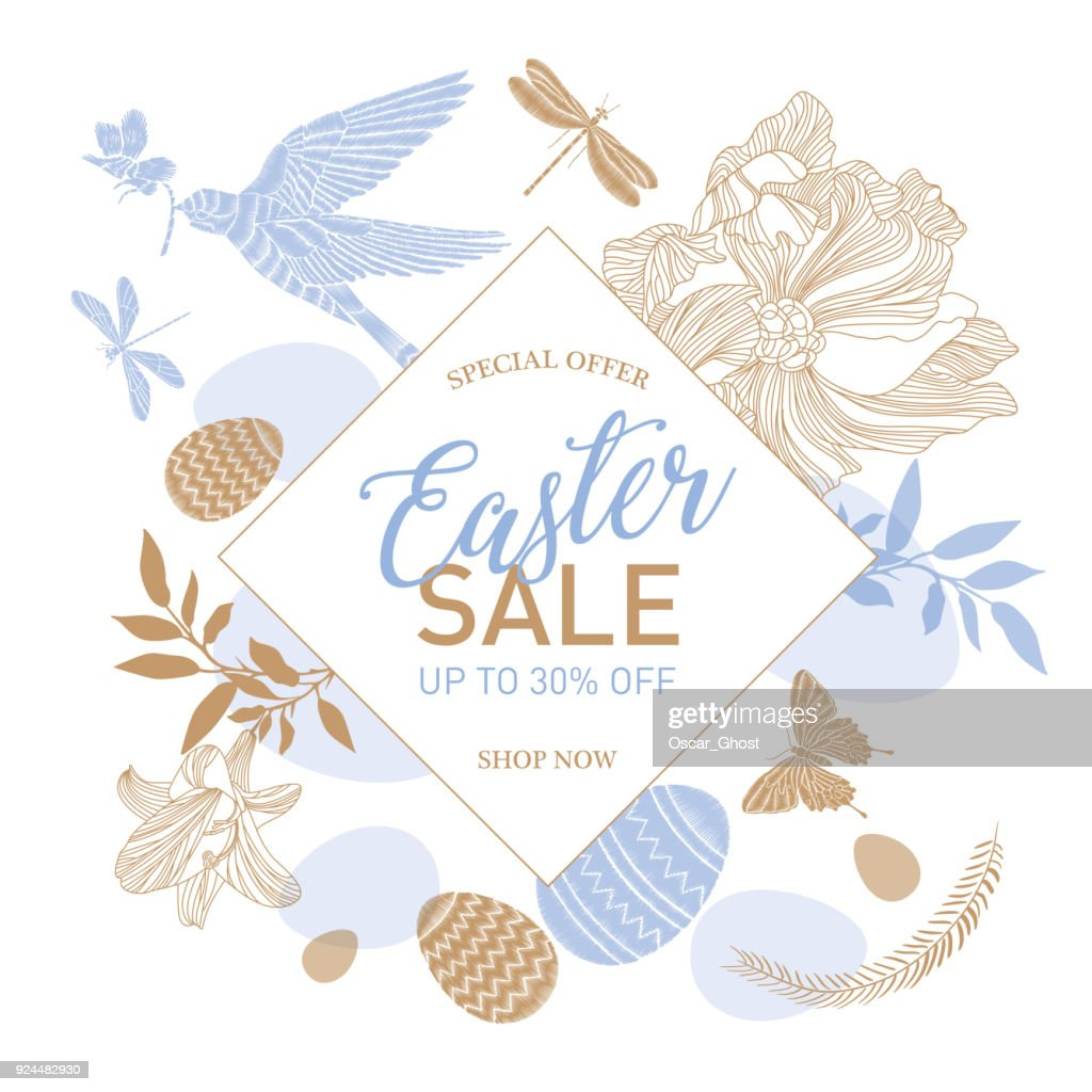 Easter Sale templates with eggs, flowers, rabbit, dove and typographic design.