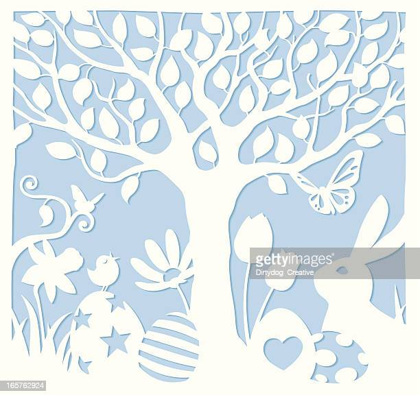 easter scene cutpaper style - cut or torn paper stock illustrations, clip art, cartoons, & icons