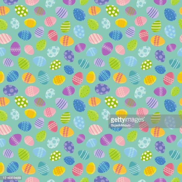 easter seamless pattern background with eggs. vector - easter egg stock illustrations