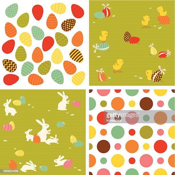 Easter seamless pattern set