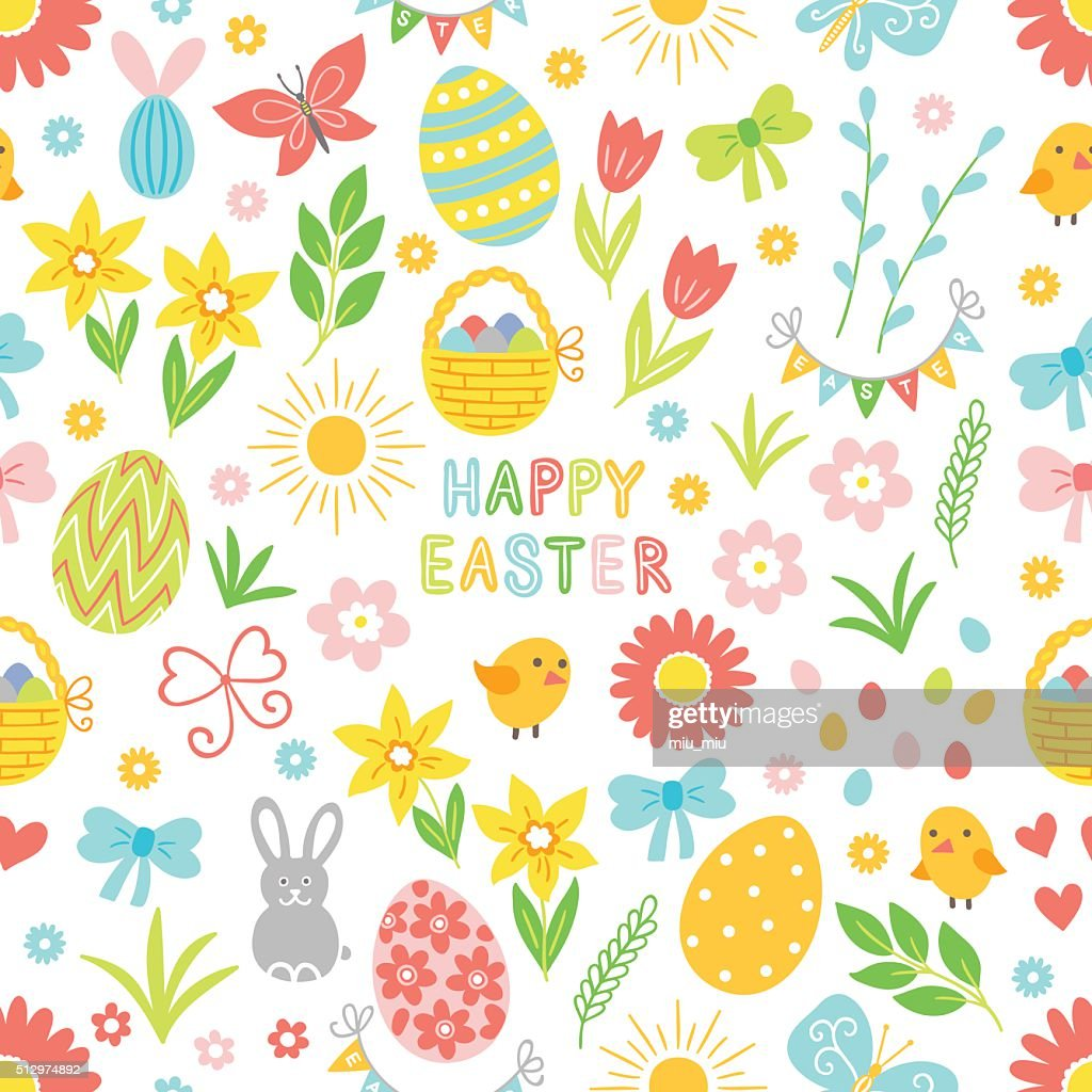 Easter seamless pattern with flower, branch, holiday eggs, basket, bow