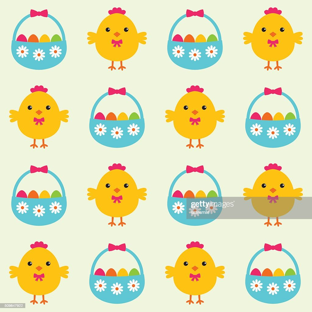 Easter seamless vector pattern with chicks