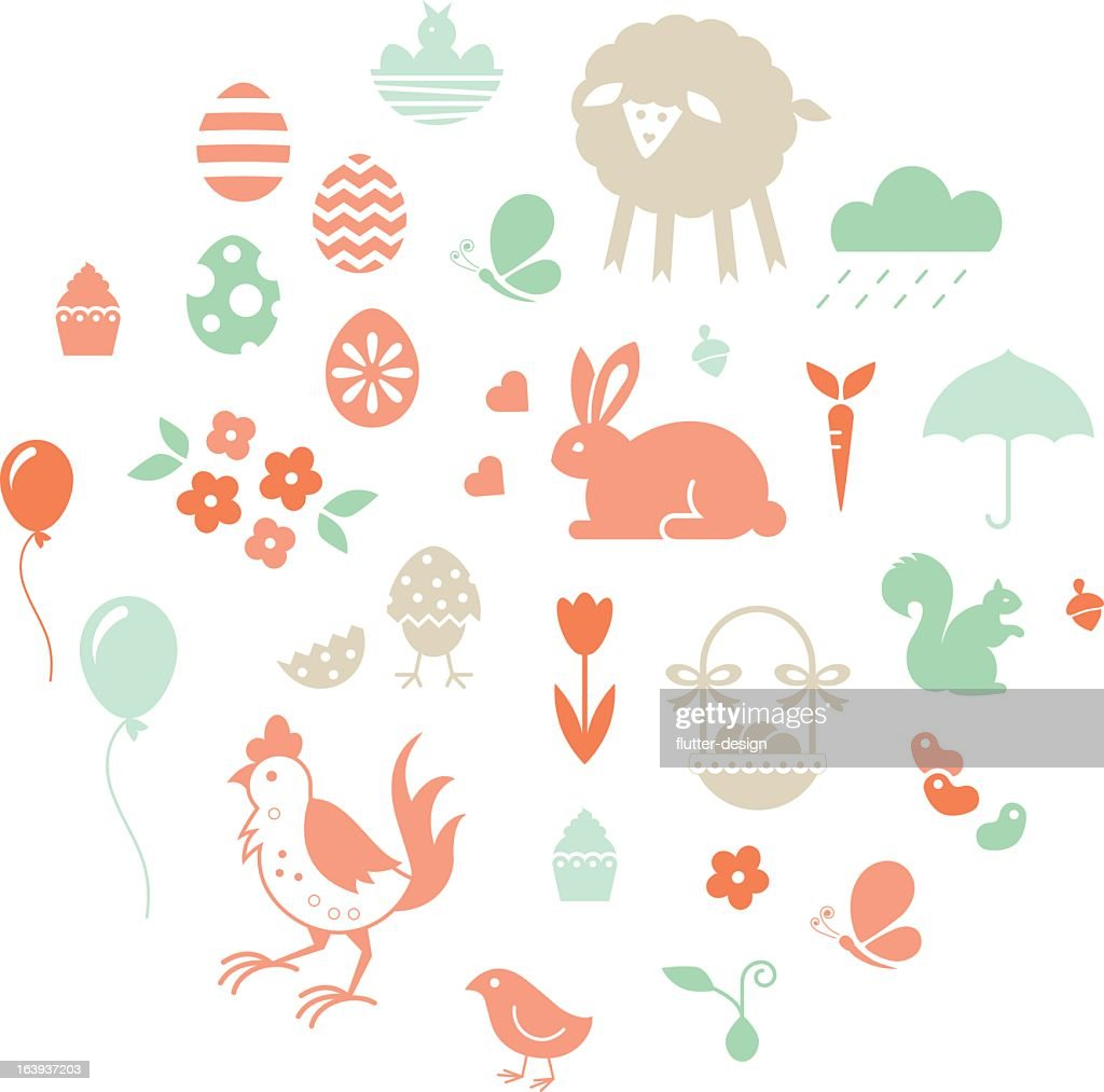 Easter set of icons in pastel tones : stock illustration