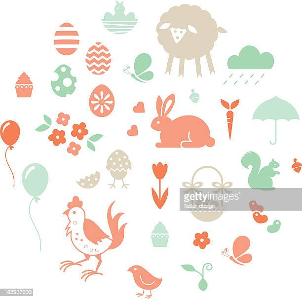 easter set of icons in pastel tones - easter stock illustrations