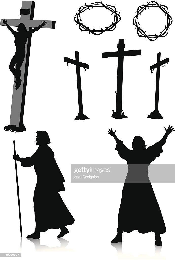 Easter silhouettes : stock illustration