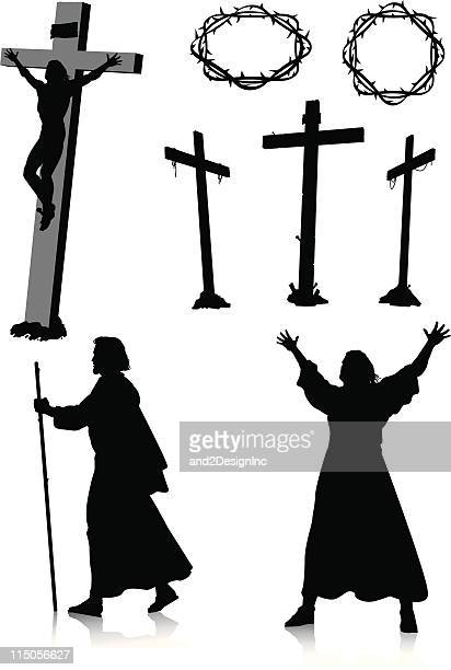 easter silhouettes - jesus stock illustrations, clip art, cartoons, & icons